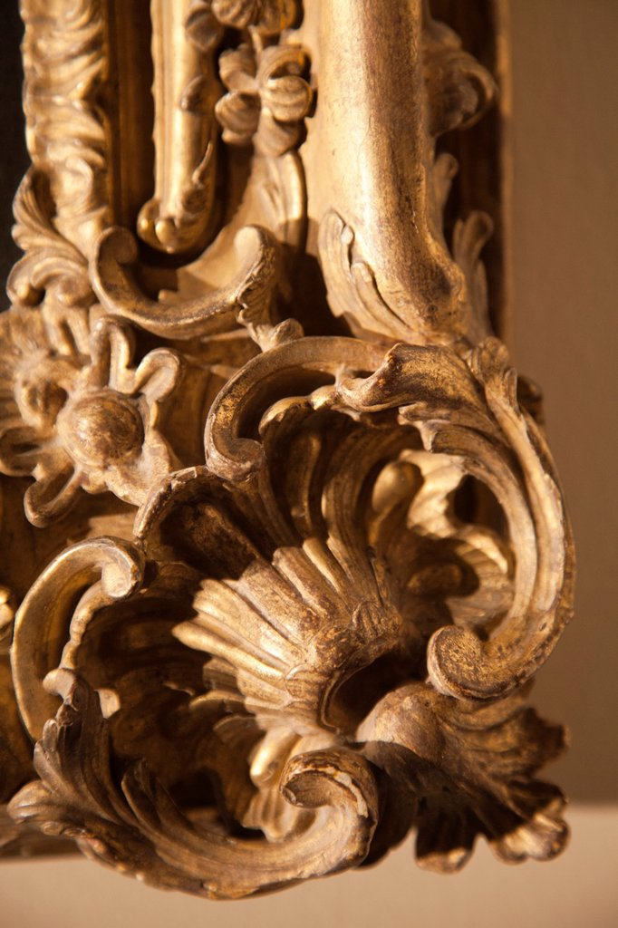 Stock Photo: 1566-1142185 Floral Scrollwork on Gilded Antique Frame