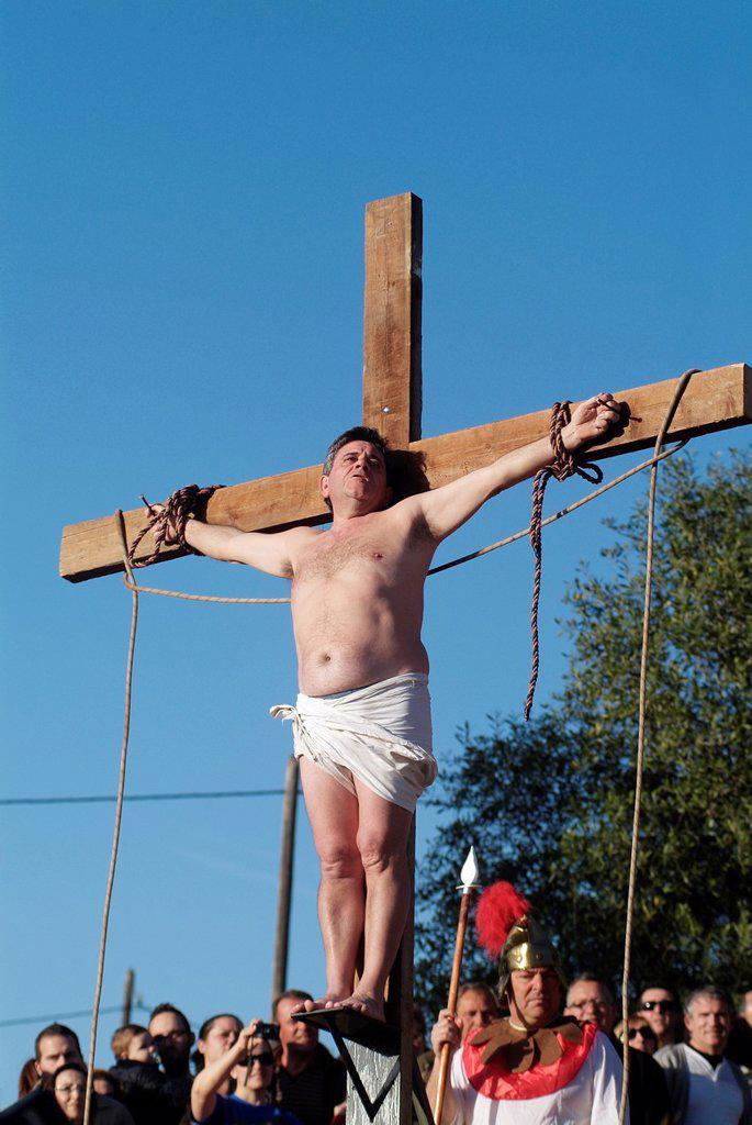 cricifixion scenes of Jesus Christ, Alzira, Valencia, Spain, Europe : Stock Photo