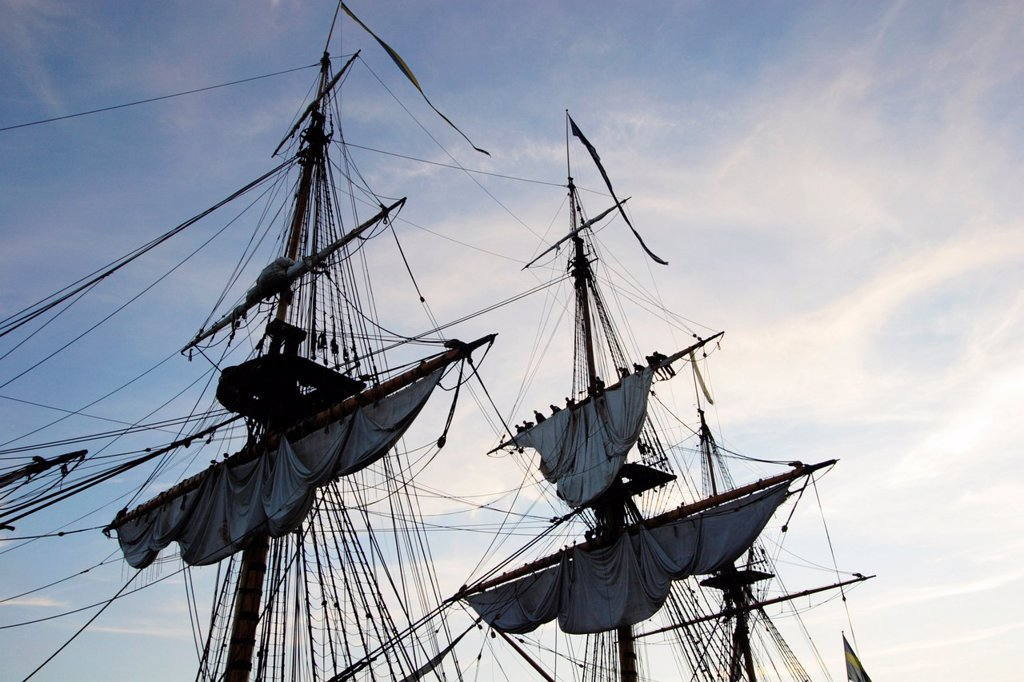 Detail of the Swedish 18th century replica Eastindiaman Goeteborg : Stock Photo