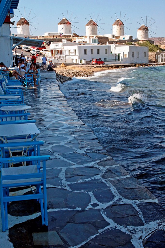 Mills, Little Venice, Chora, Mykonos, Greece : Stock Photo