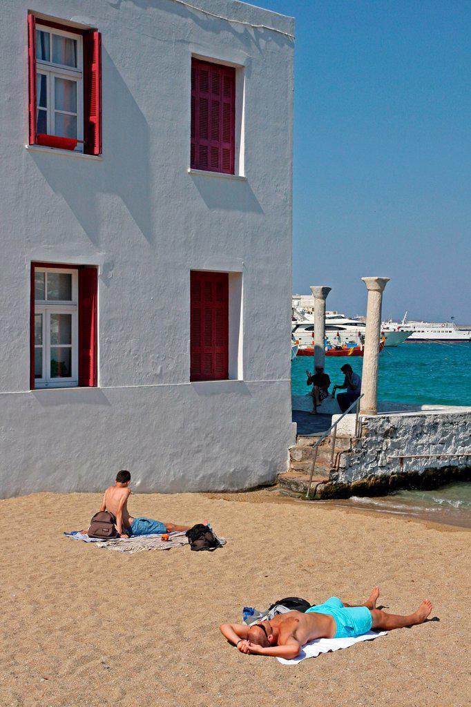 Beach, Chora, Mykonos, Greece : Stock Photo