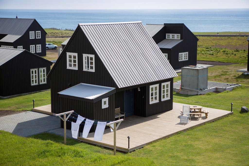 Stock Photo: 1566-1143383 Guest houses at Hellnar, Snaefellsnes Peninsula, Iceland