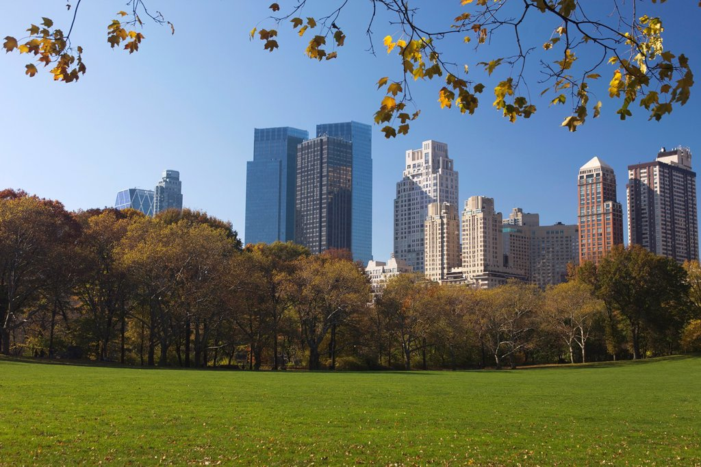 Stock Photo: 1566-1143566 CENTRAL PARK SOUTH SKYLINE MIDTOWN MANHATTAN NEW YORK CITY USA