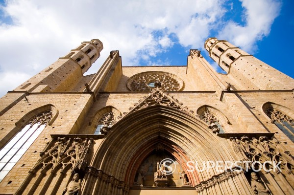 Stock Photo: 1566-1143948 Santa Maria del Mar Cathedral and church of Barcelona Spain  Famous because of the book La Catedral del Mar