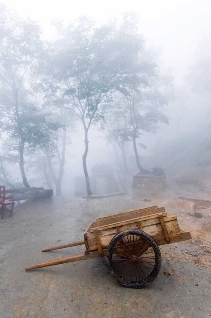 Stock Photo: 1566-1144542 An old pull cart at the San Huang Zhai Monastery on Song Mountain, China
