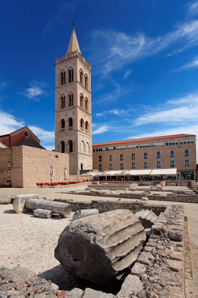 The bell tower of St  Anastasia cathedral, Zadar, Croatia : Stock Photo