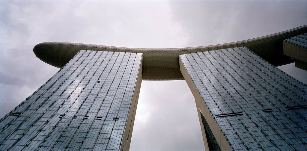 Stock Photo: 1566-1144857 Looking up at the Marina Bay Sands Hotel to the Skypark in Singapore