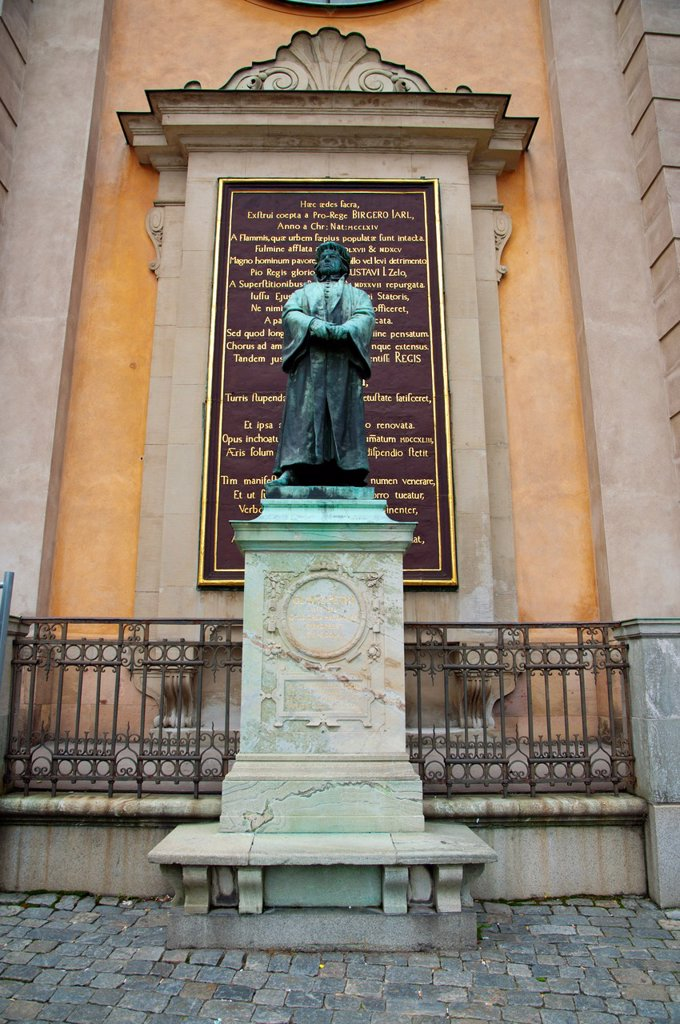 Stock Photo: 1566-1145338 Statue of the 16th century Protestant reformist Olaus Petri 1897 by Theodor Lundberg at Slottsbacken square Gamla Stan the old town Stockholm Sweden Europe