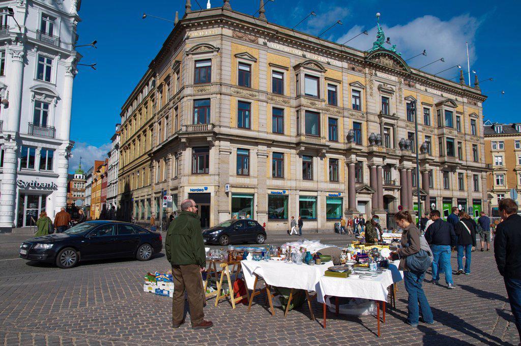 Antiques market at Kongens nytorv square central Copenhagen Denmark Europe : Stock Photo