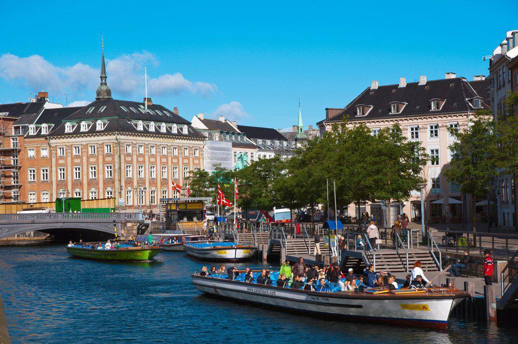 Stock Photo: 1566-1145466 Tourist sightseeing cruise tour boat Borsgraven canal central Copenhagen Denmark Europe