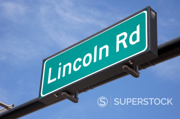 Stock Photo: 1566-1146932 lincoln road street sign sobe miami south beach florida usa