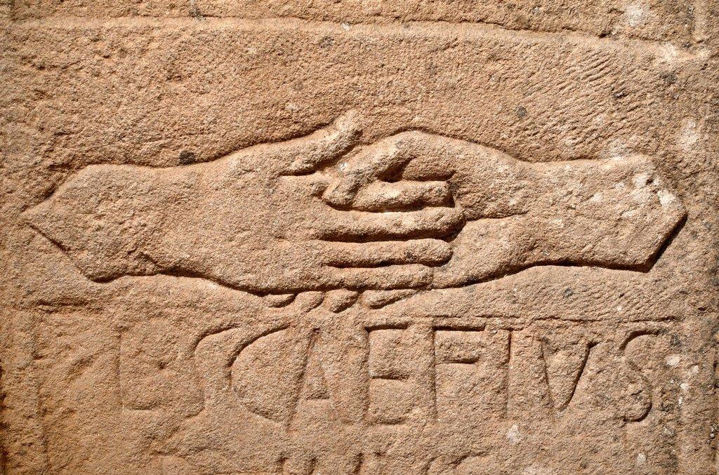 Stock Photo: 1566-1147071 Tomb of Roman Couple Hands Symbolise Fidelity Frejus Var Provence France