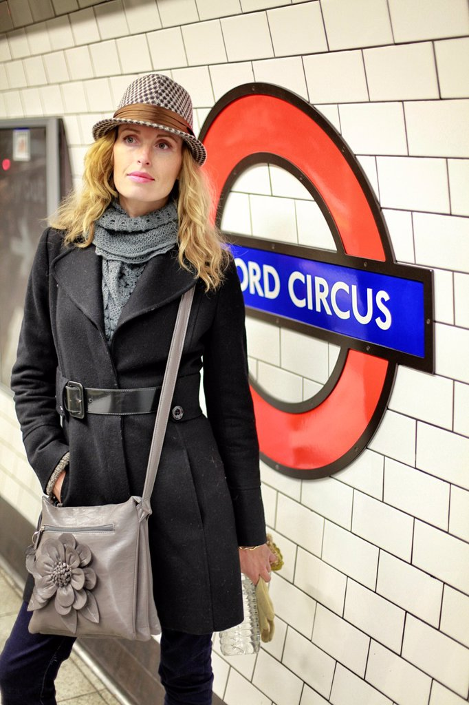 Stock Photo: 1566-1147352 Woman in the underground in London, England