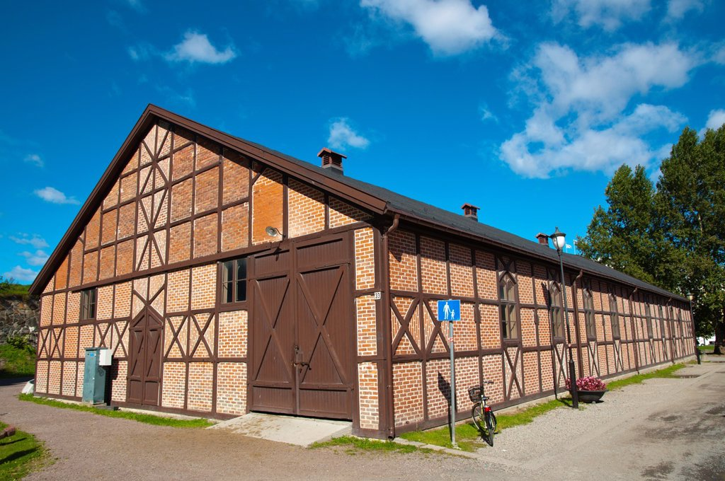 Stock Photo: 1566-1147471 Converted farm house in Myntgatekvartalet area with government offices Kvadraturen district old town Oslo Norway Europe