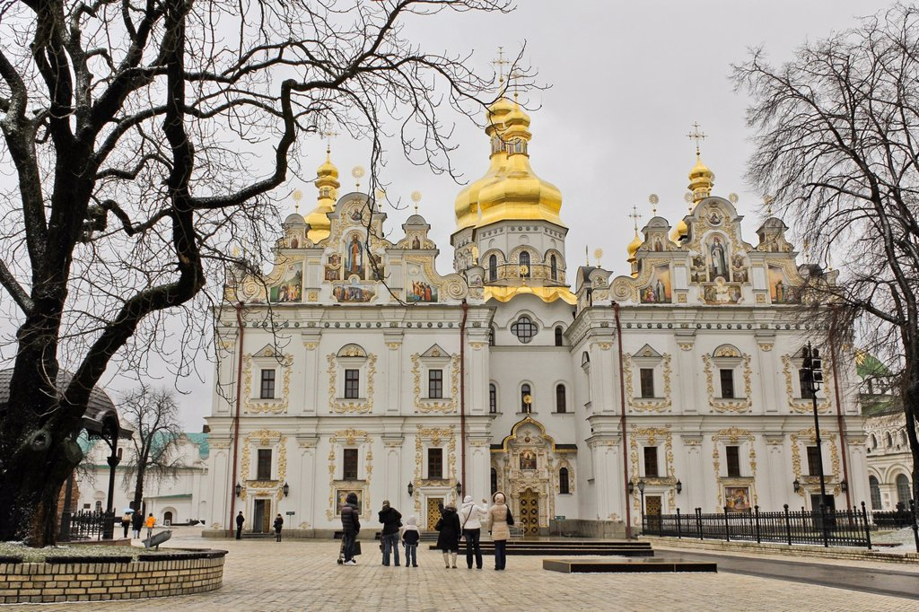 Stock Photo: 1566-1147665 People looking the Uspenskiy Cathedral, Kiev Pechersk Lavra territory, Kiev, Ukraine