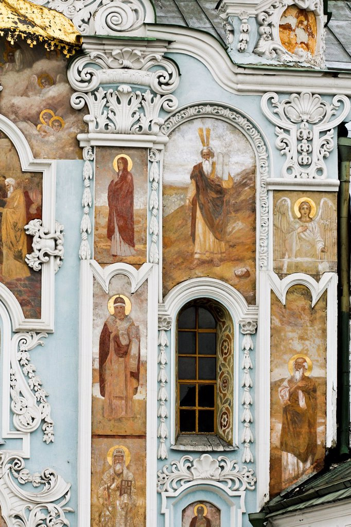 Trinity gate church, painting frescos, Pechersk Lavra territory, Kiev, Ukraine : Stock Photo