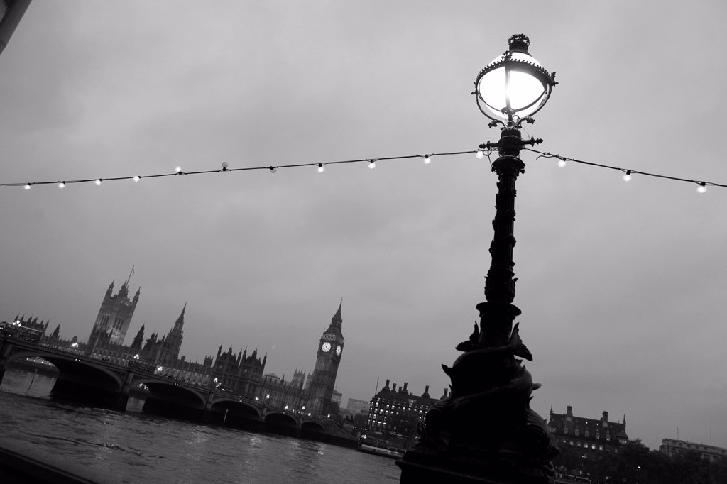 Stock Photo: 1566-1148021 England Lamposts Over River Thames At Night with Big Ben and Houses Of Parliament in Background, London, United Kingdom