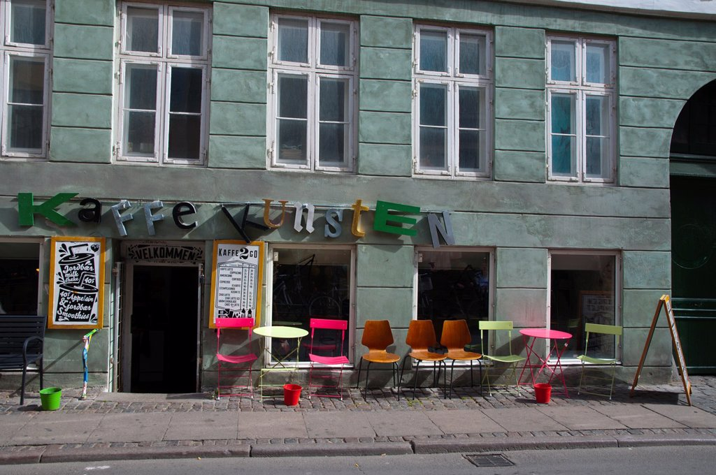 Stock Photo: 1566-1148079 Cafe along Larsbjornsstraede street Latin Quarter district central Copenhagen Denmark Europe