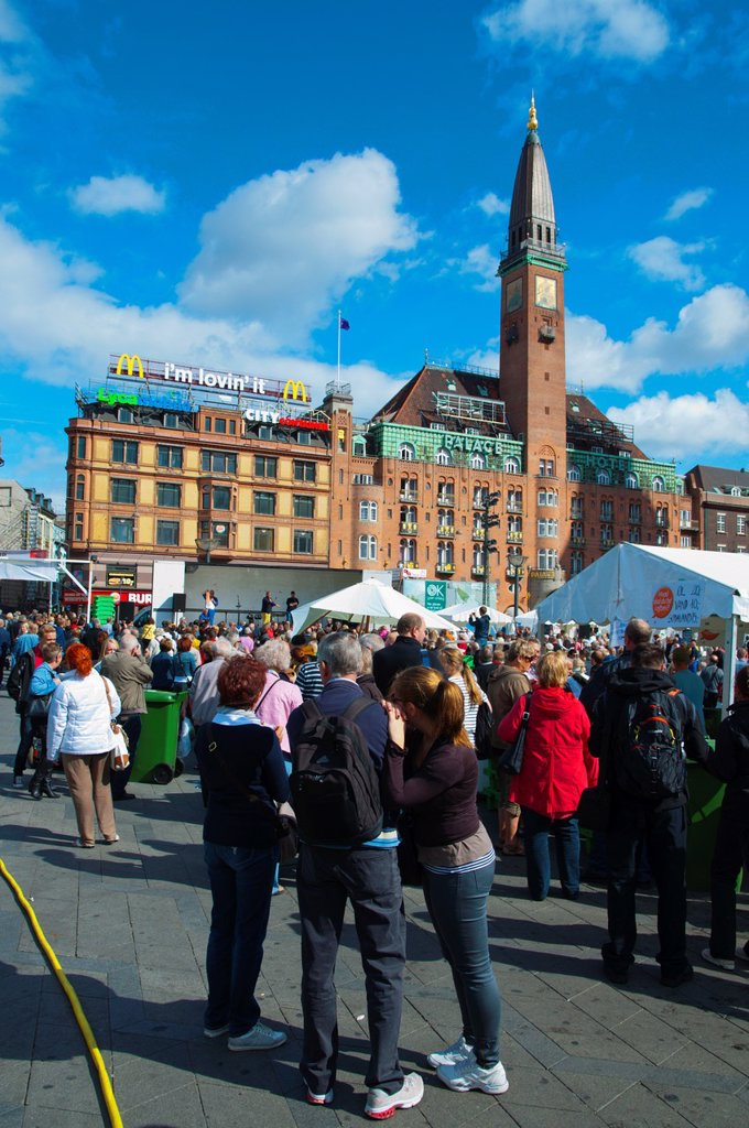 Fiskens Dag seafood festival and market at Rådhuspladsen square central Copenhagen Denmark Europe : Stock Photo