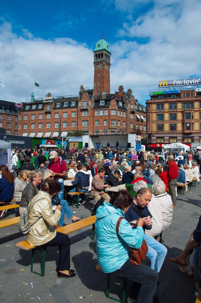 Stock Photo: 1566-1148081 Fiskens Dag seafood festival and market at Rådhuspladsen square central Copenhagen Denmark Europe