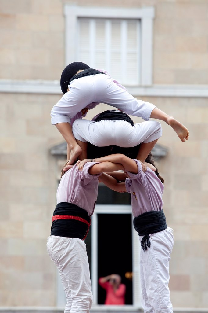 Castellers - human tower tradition in Catalonia -, Sant Jaume square, Festes de la Mercè, Barcelona, Spain : Stock Photo