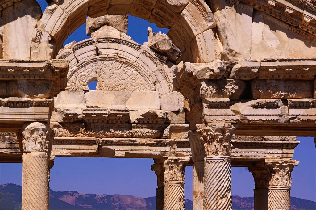 Stock Photo: 1566-1148393 Turkey- Tetrapylon at Aphrodisias Greek: fds, Aphrodisiás was a small city in Caria, on the southwest coast of Asia Minor  Its site is located near the modern village of Geyre, Turkey, about 230 km 140 mi south-east of Izmir and about 100 km 62 mi inland. Turkey- Tetrapylon at Aphrodisias Greek: fds, Aphrodisiás was a small city in Caria, on the southwest coast of Asia Minor  Its site is located near the modern village of Geyre, Turkey, about 230 km 140 mi south-east of Izmir and about 100 km 62