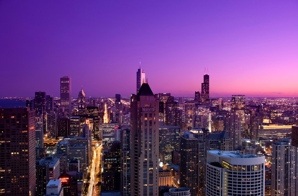 Stock Photo: 1566-1148791 LOOP SKYLINE FROM 900 NORTH MICHIGAN ROOFTOP DOWNTOWN CHICAGO ILLINOIS USA