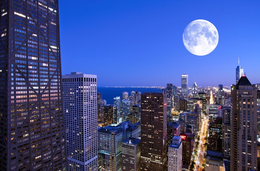 Stock Photo: 1566-1148801 LOOP SKYLINE FROM 900 NORTH MICHIGAN ROOFTOP DOWNTOWN CHICAGO ILLINOIS USA