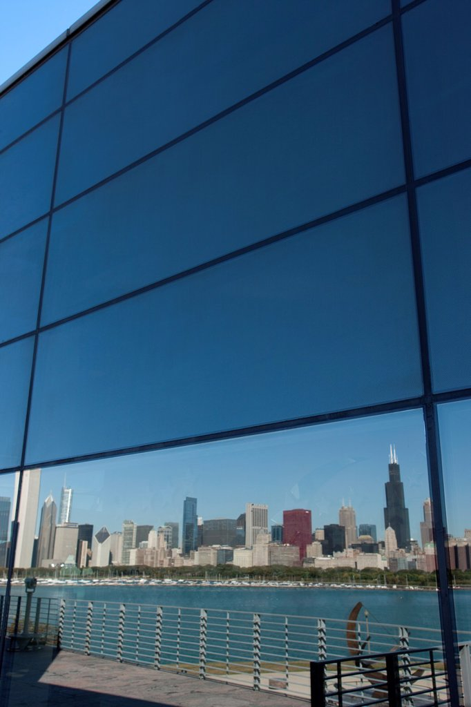 Stock Photo: 1566-1148836 REFLECTION OF LAKE SHORE SKYLINE FROM  ADLER PLANETARIUM DOWNTOWN CHICAGO ILLINOIS USA