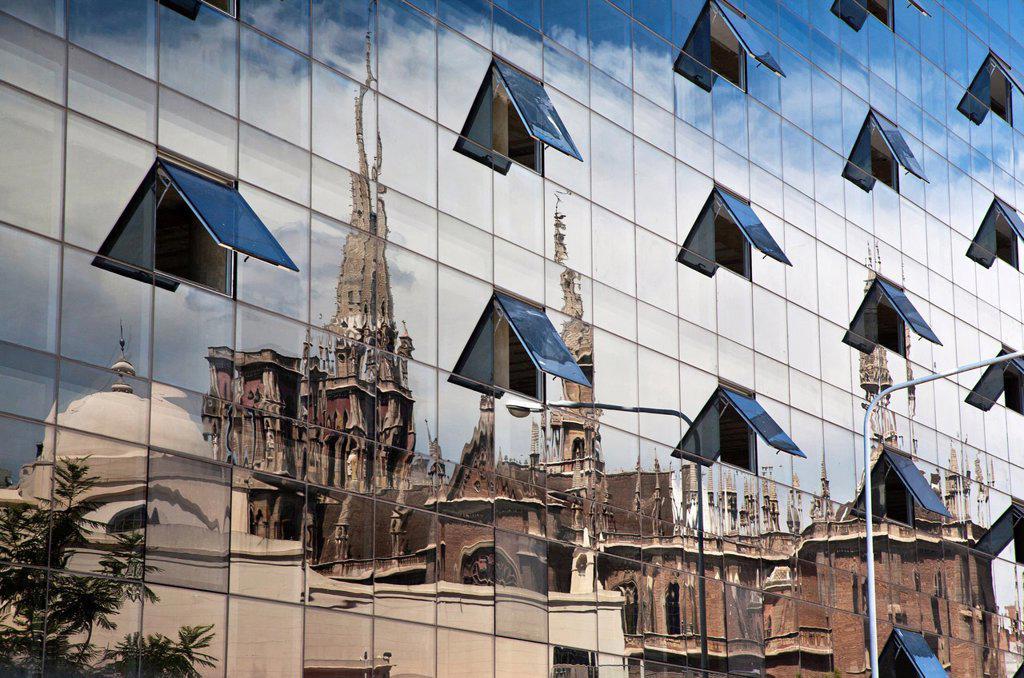 Stock Photo: 1566-1149357 Reflection of the neo gothic Parroquia Sagrado Corazon de Jesus de los Capuchinos church, Cordoba City, Cordoba Province, Argentina