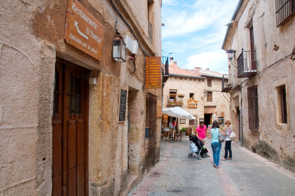 People in the street. Pedraza, Segovia province, Castilla Leon, Spain. : Stock Photo