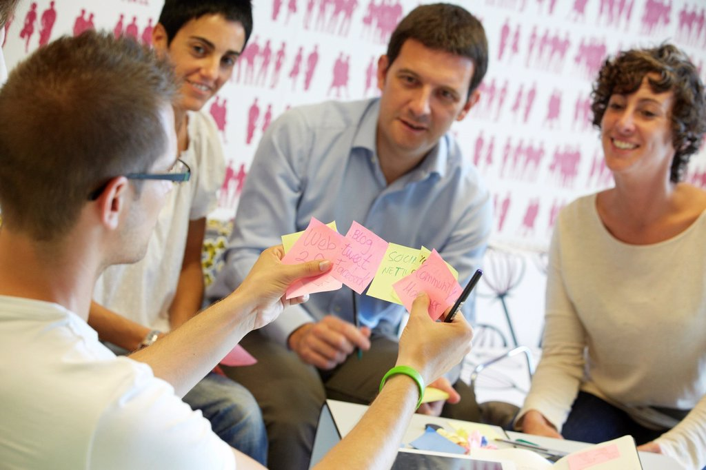 Stock Photo: 1566-1149846 Team of business executives, Focus group, Creativity workshop, Innovation Strategies, Tecnalia Research & Innovation, Basque Country, Spain