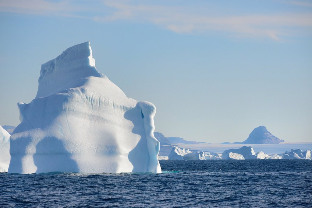 Stock Photo: 1566-1150210 Greenland, Melville Bay, Red Head surroundings, Icebergs and ice cap