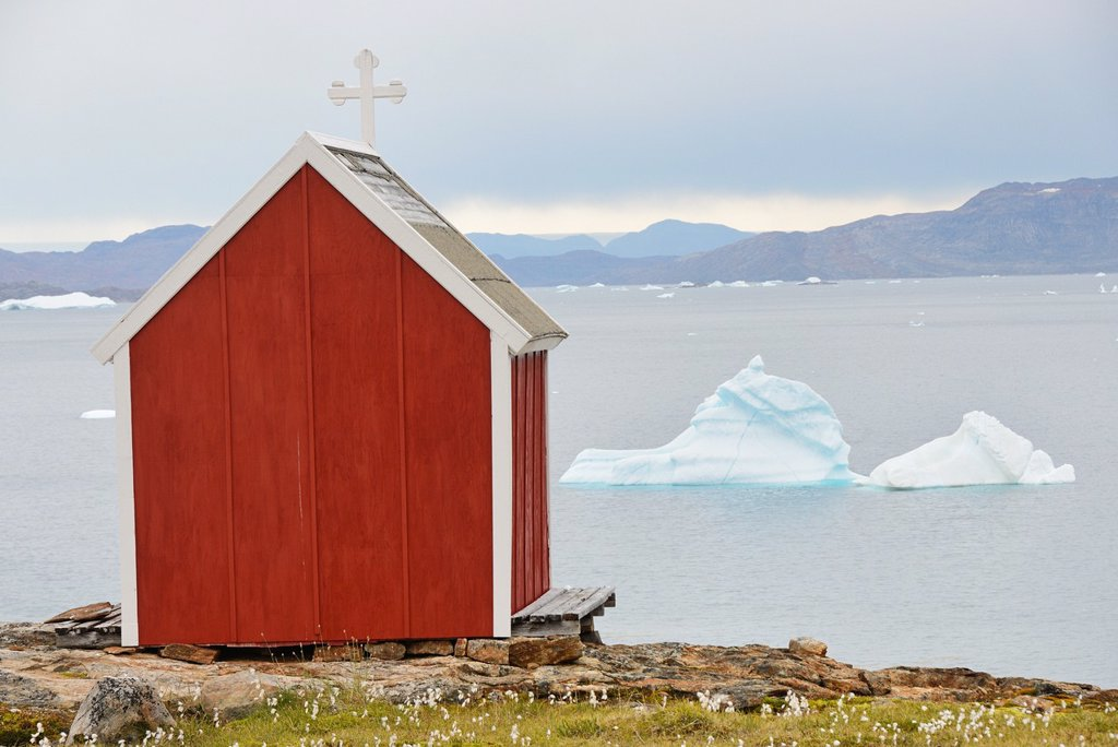 Stock Photo: 1566-1150220 Greenland, Baffin Bay, Nutaarmiut, Christian chapel
