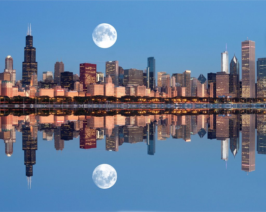 Stock Photo: 1566-1150787 LAKE SHORE SKYLINE DOWNTOWN CHICAGO ILLINOIS USA