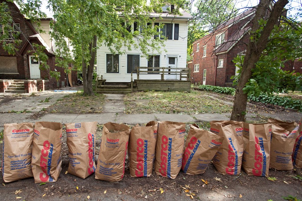 Stock Photo: 1566-1150988 Detroit, Michigan - A row of yard waste bags is ready for collection after the Three Mile Drive Block Club cleaned up the lawn of a vacant home on their street  The city has tens of thousands of vacant houses