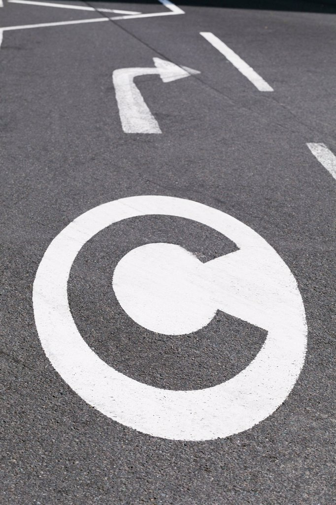 Congestion charge sign on the road, London, UK : Stock Photo