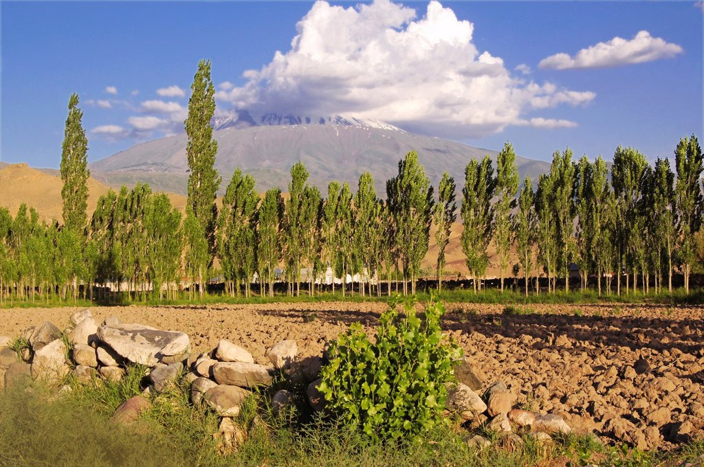 Turkey- ´Asagi Dagi´ , the Mont Ararat 5137m, where for the christian tradition Noah Arch should have landed  View from Igdir side : Stock Photo