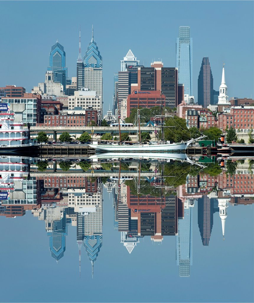 Stock Photo: 1566-1151295 DOWNTOWN SKYLINE DELAWARE RIVER PHILADELPHIA PENNSYLVANIA USA