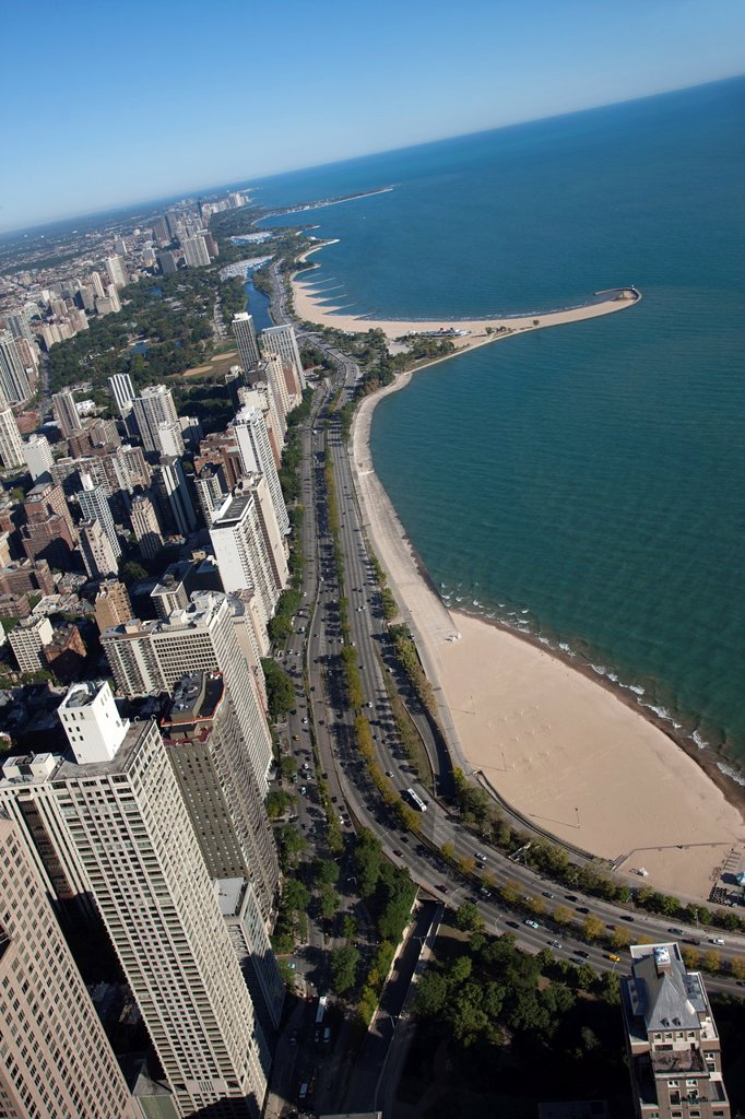 Stock Photo: 1566-1151347 WATERFRONT BUILDINGS NORTH LAKE SHORE DRIVE DOWNTOWN CHICAGO ILLINOIS USA