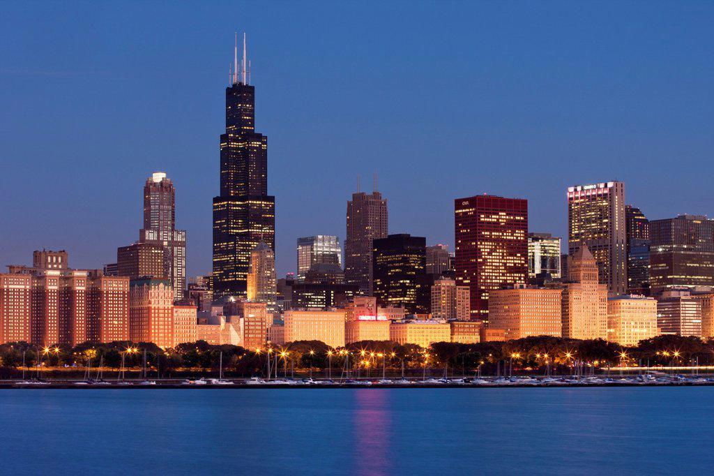 WILLIS (SEARS) TOWER LAKE SHORE SKYLINE DOWNTOWN CHICAGO ILLINOIS USA : Stock Photo