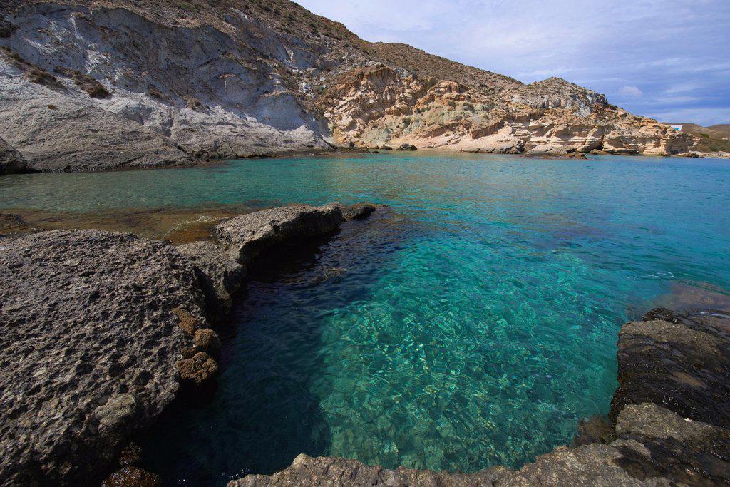Stock Photo: 1566-1151647 Cabo de Gata, Del Plomo Beach, Cala del Plomo, Cabo de Gata-Nijar Natural Park, Biosphere Reserve, Almeria, Spain, Europe