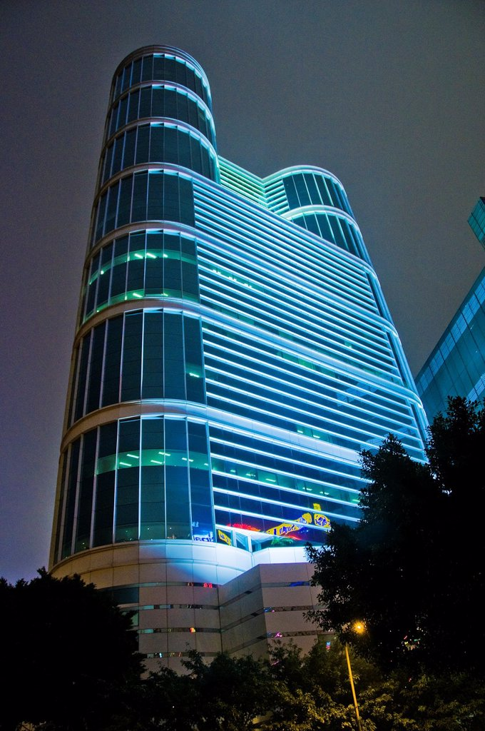 View of skyscraper in Hong Kong China at night : Stock Photo