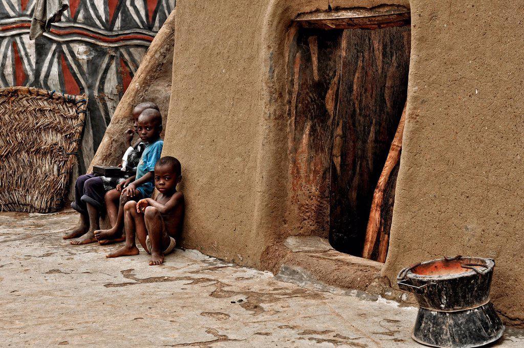 Kasena children in their house, Ghana : Stock Photo