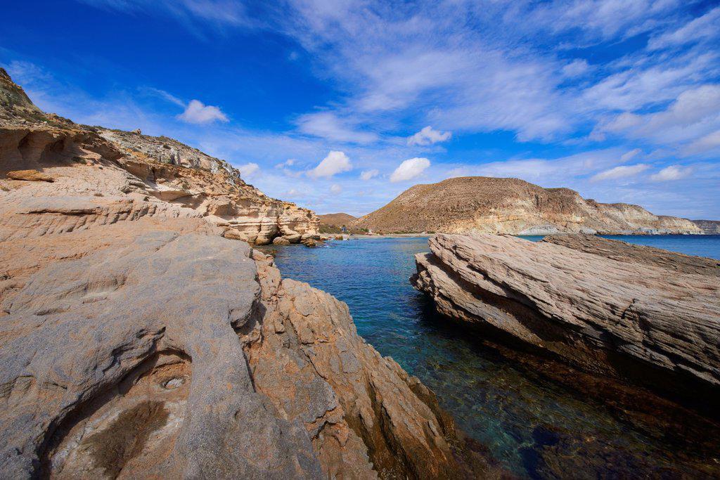 Cabo de Gata, Del Plomo Beach, Cala del Plomo, Cabo de Gata-Nijar Natural Park, Biosphere Reserve, Almeria, Spain, Europe : Stock Photo