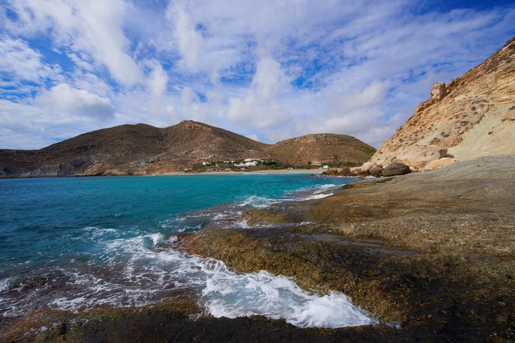 Stock Photo: 1566-1153222 Cabo de Gata, Del Plomo Beach, Cala del Plomo, Cabo de Gata-Nijar Natural Park, Biosphere Reserve, Almeria, Spain, Europe
