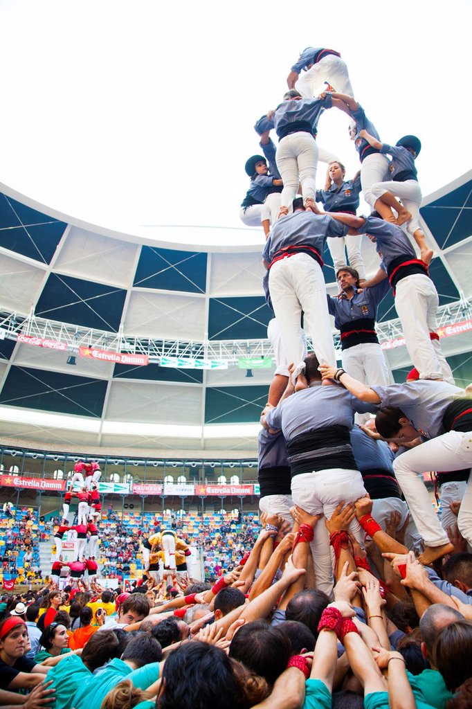 Stock Photo: 1566-1153339 ´Tarragona, Spain, october 6 and 7 2012  Contest XXIV Castellers human towers  The castellers are UNESCO World Heritage ´