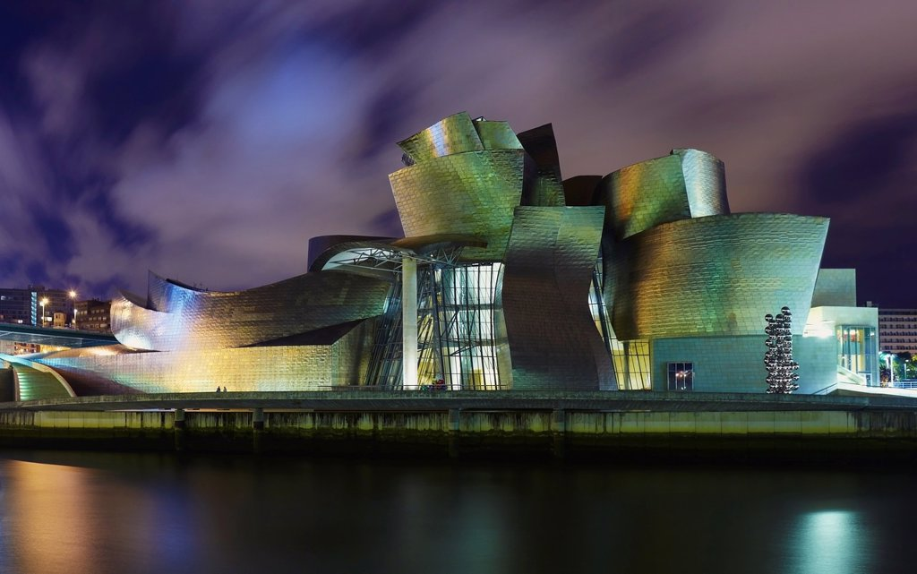 Stock Photo: 1566-1153470 Panoramic night view of the Guggenheim museum and River Nervion, Bilbao, Biscay, Basque Country, Spain