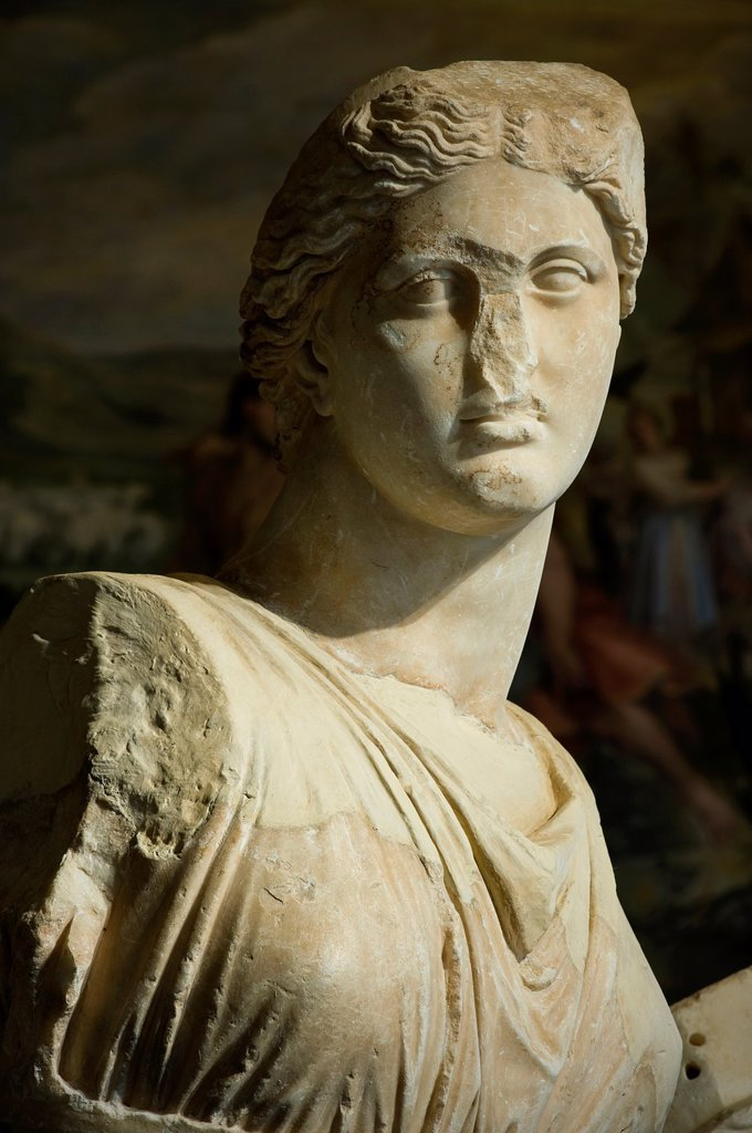 Stock Photo: 1566-1153576 Fragmentary Statue of a Muse, from National Archeological Museum of Athens, exposed to the Capitoline Museums, Rome, Italy
