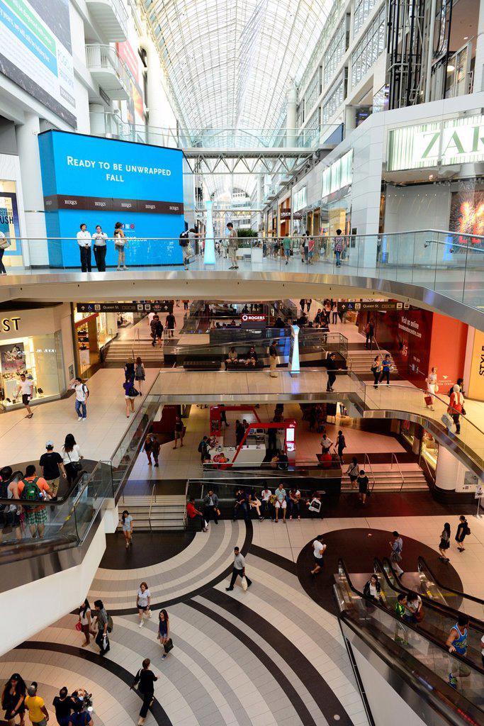 Eaton Center Centre Shopping Mall Toronto Ontario Canada : Stock Photo